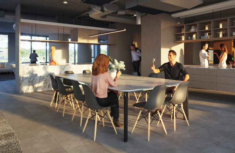Mirvac Build to Rent render of people sitting at communal table
